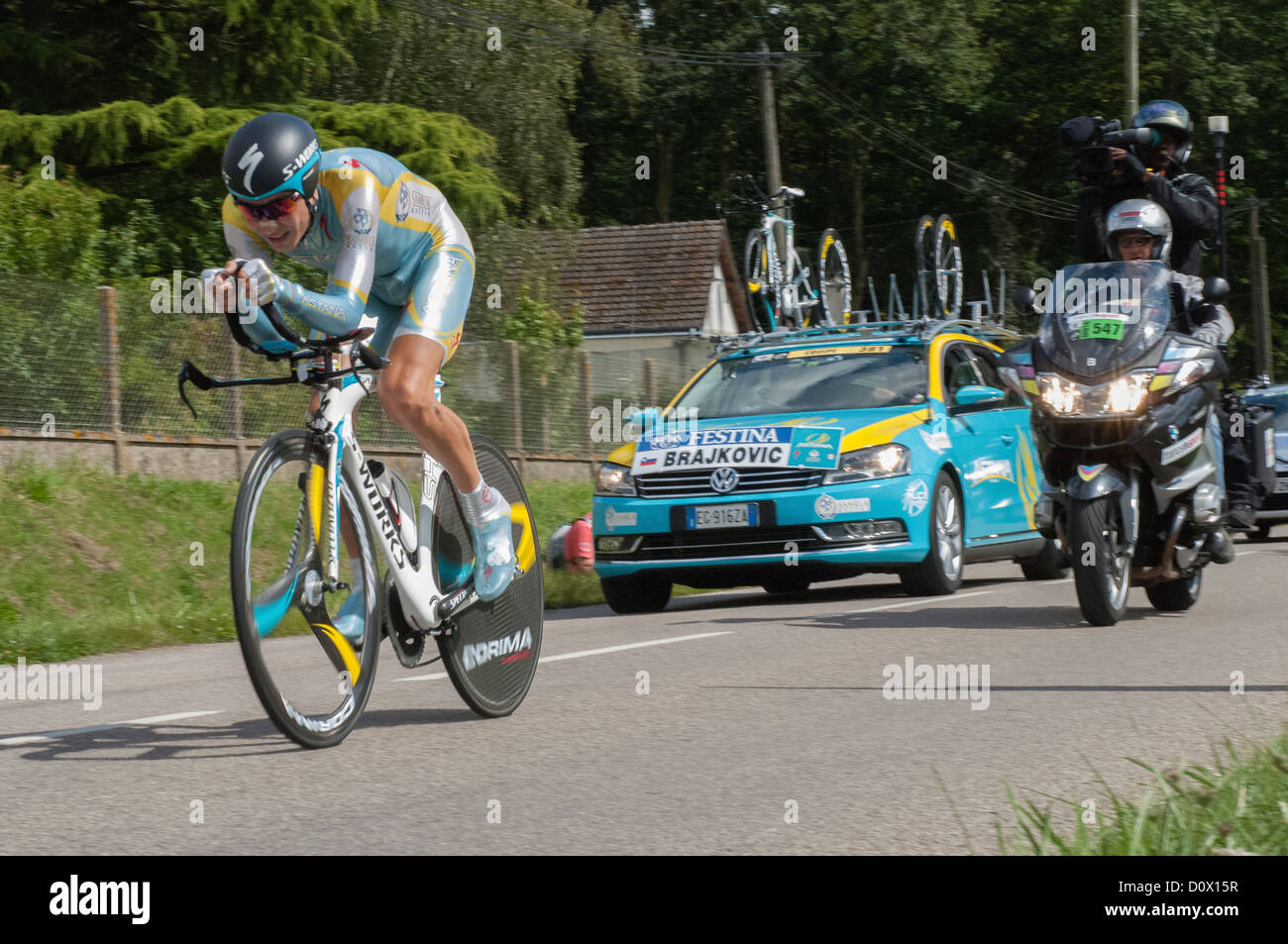 Janez Brajkovic of team Astana on the 19th Time Trial stage of the 2012 Tour de France near Illiers-Combray in the - Stock Image