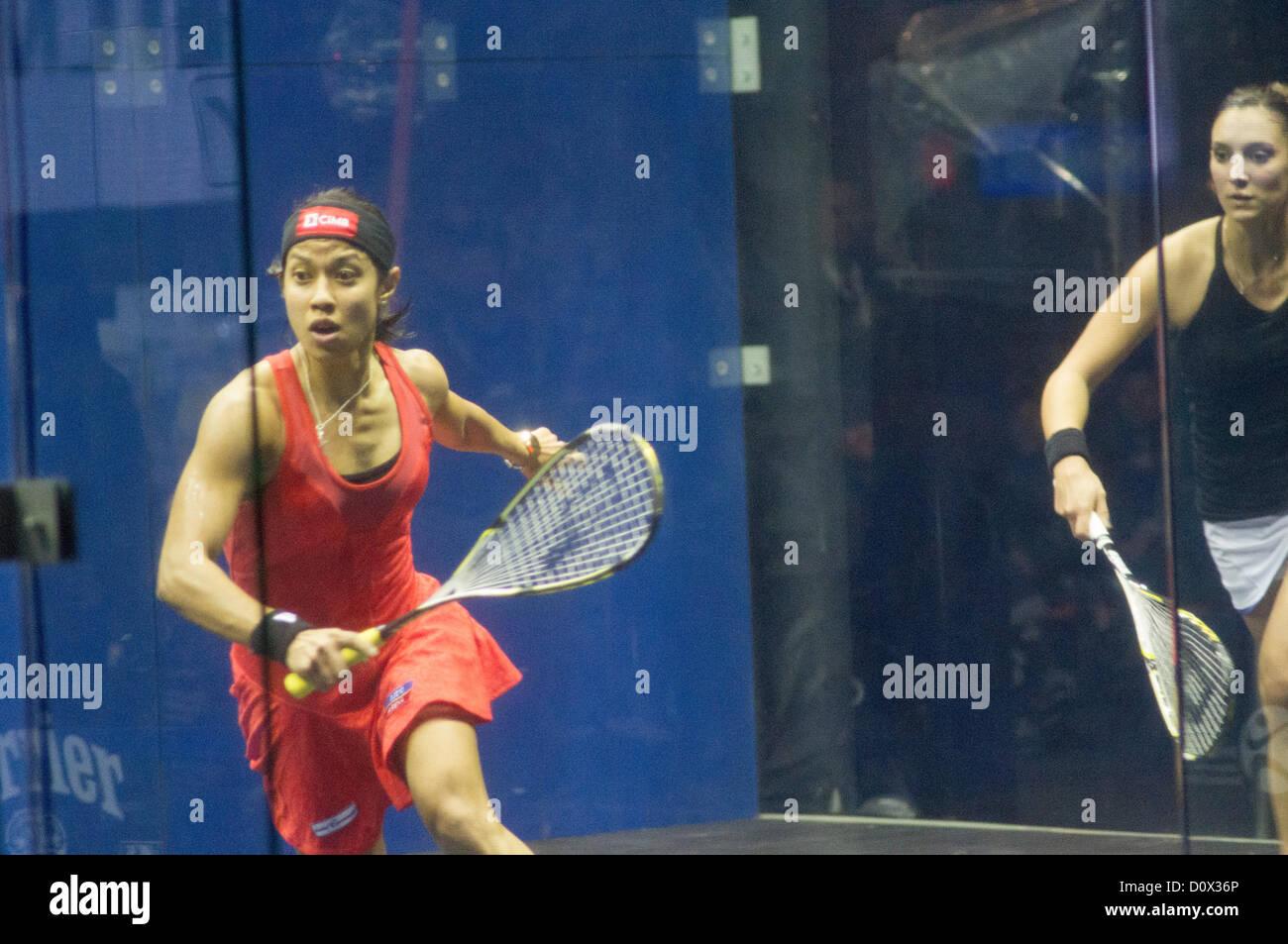 Women Final of Cathay Pacific Sun Hung Kai Financial Hong Kong Squash Open 2012- 2 Dec, 2012. Nicol David vs Camille - Stock Image