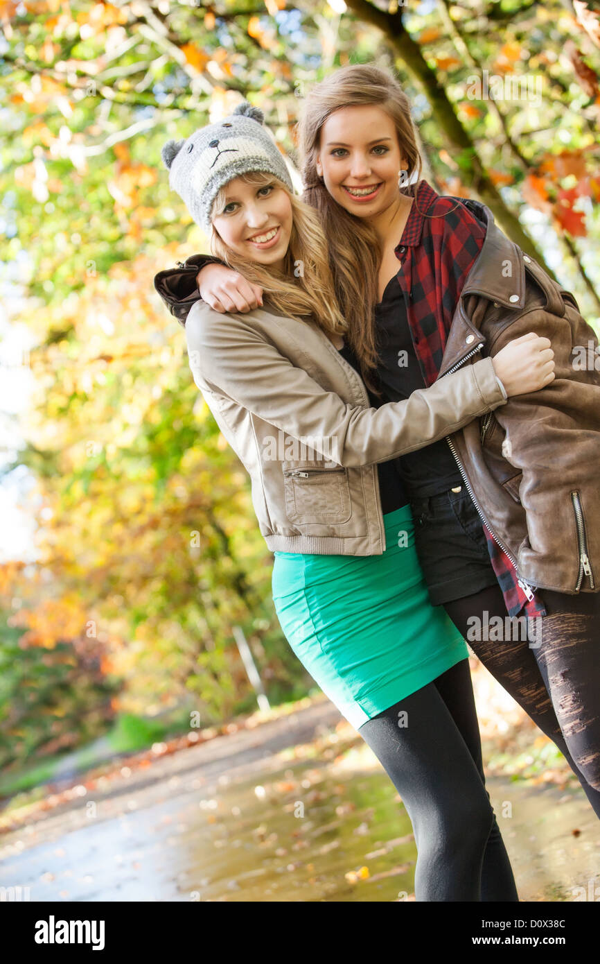 2 Girls Are Having Fun In The Forest