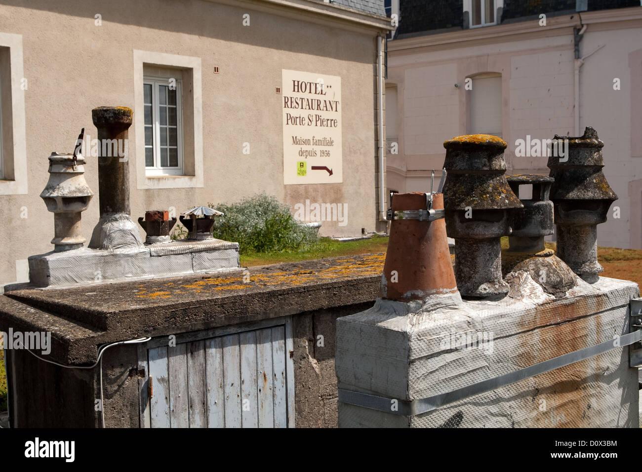 Chimney pots St Malo Brittany France - Stock Image