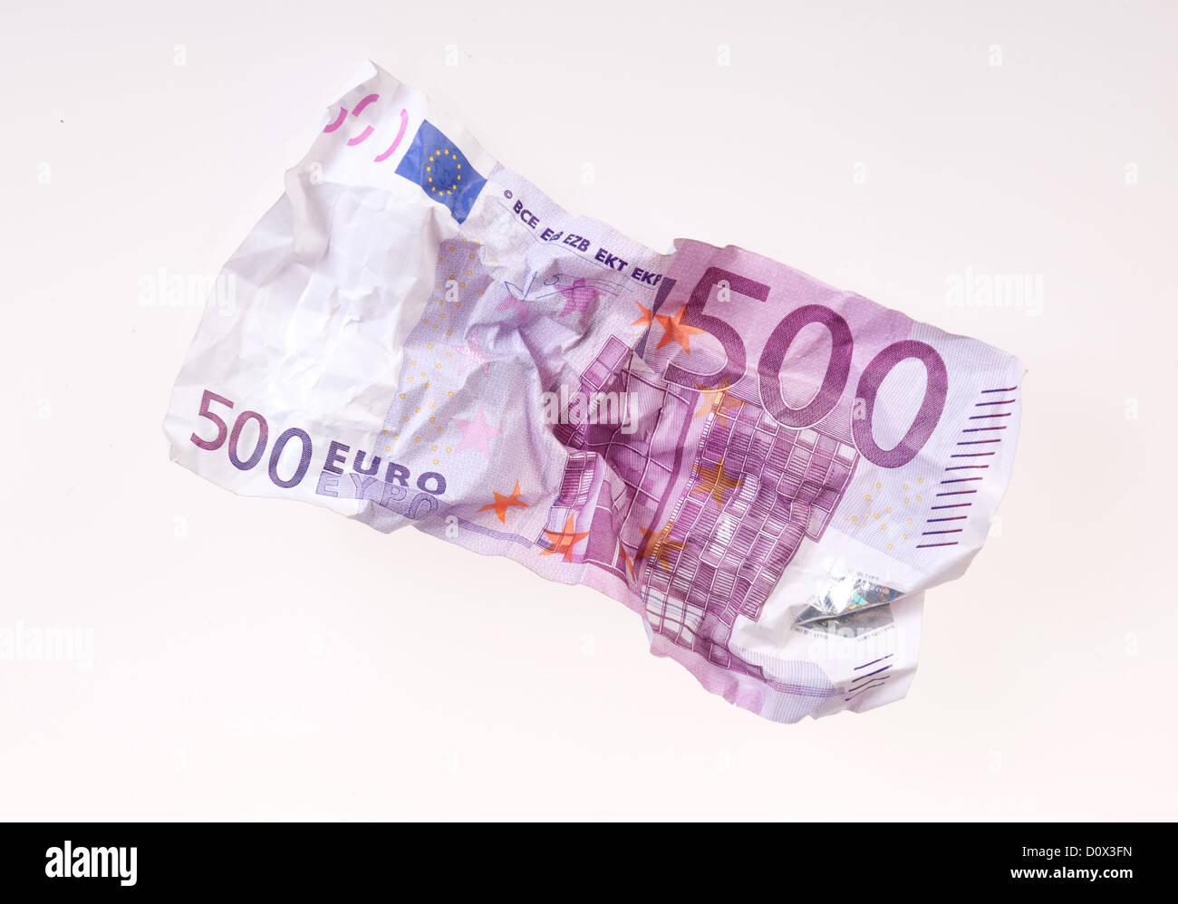 Berlin, Germany, crumpled 500-euro note Stock Photo