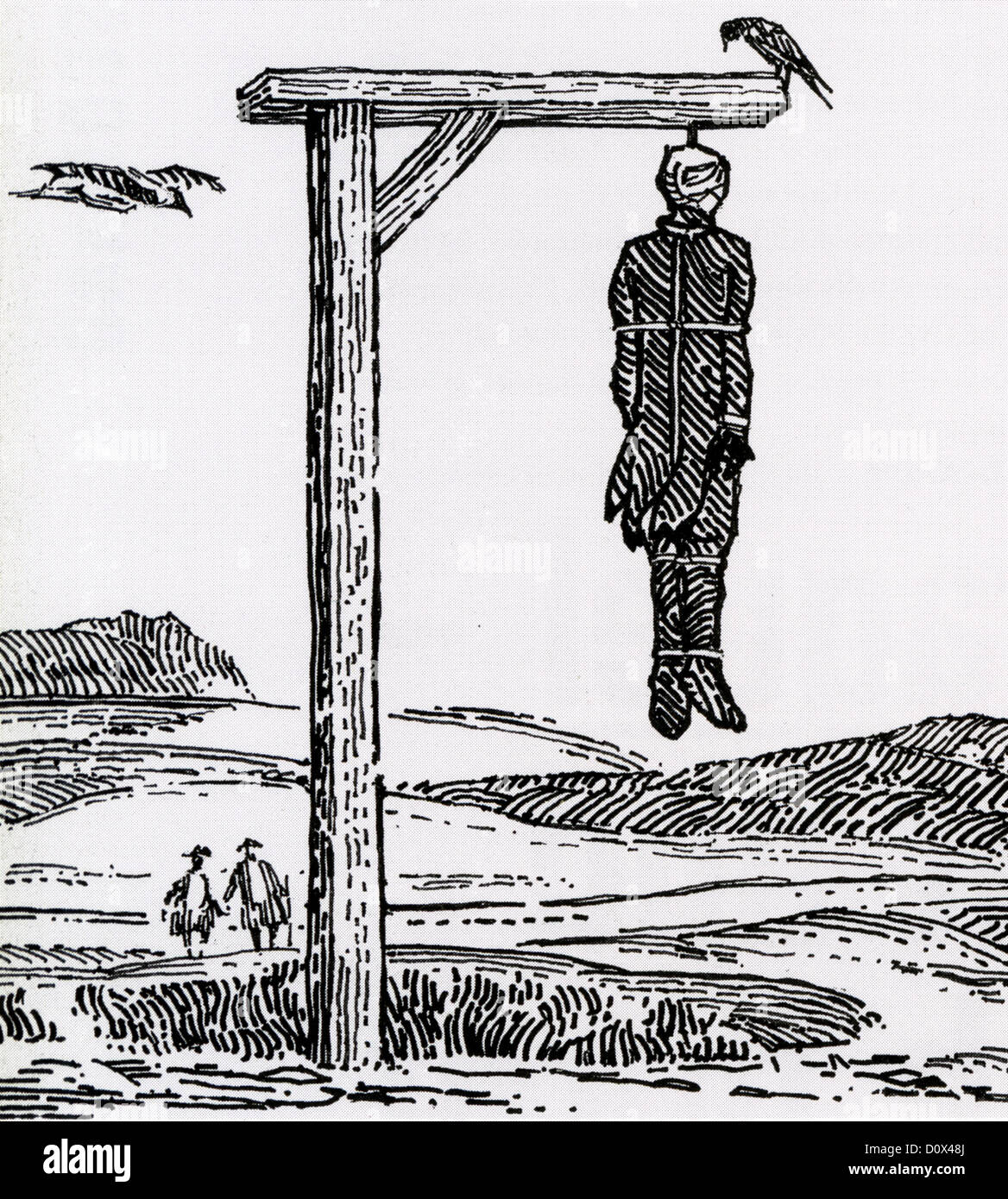GALLOWS in a mid-eighteenth century woodcut - Stock Image