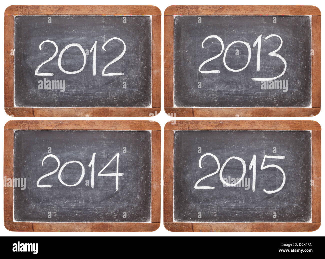 current and incoming years, 2012, 2013, 2014, 2015 on vintage slate blackboards, isolated on white - Stock Image