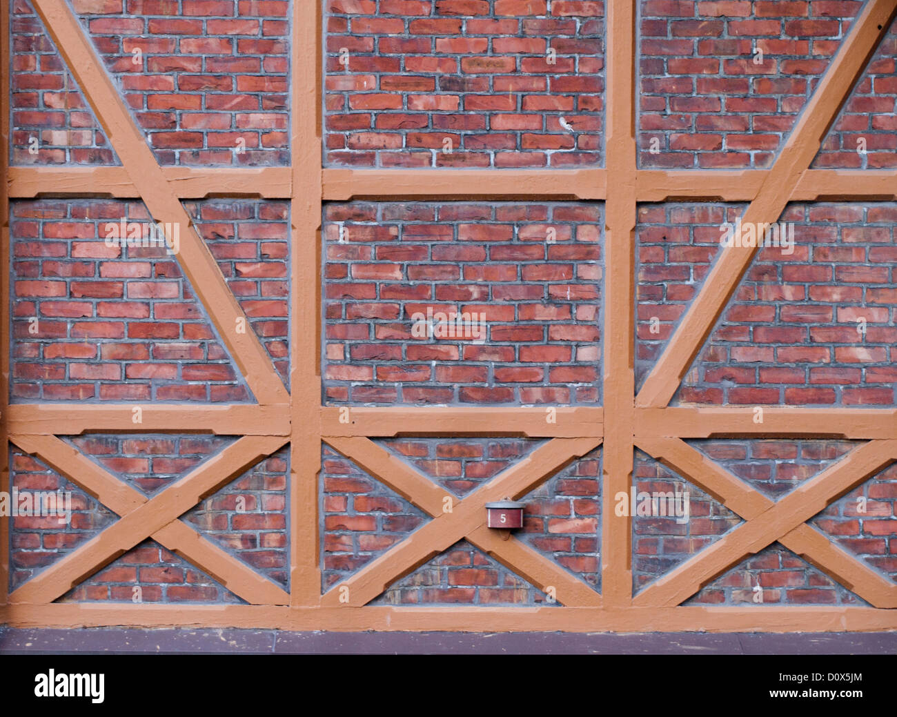 Timber framing also called post-and-beam construction makes beautiful patterns when photographed close up, here - Stock Image