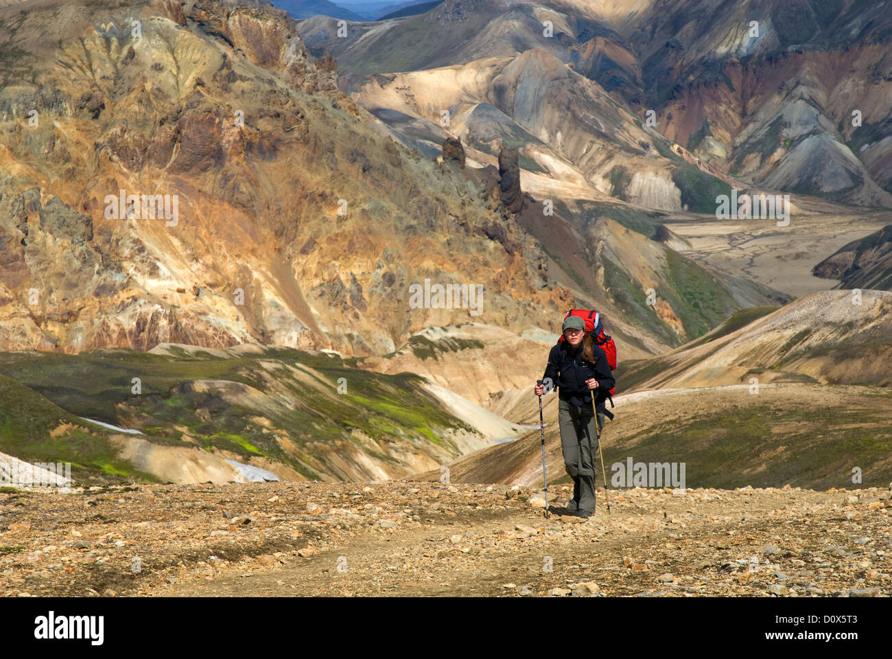 The colourful rhyolite mountains around Landmannalaugar, the start of the Laugavegur, a famous trekking route in Stock Photo