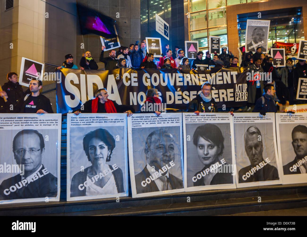 Paris, France, AIDS Activists  of Act Up Paris, at Association Public Demonstration, for December 1, World AIDS - Stock Image