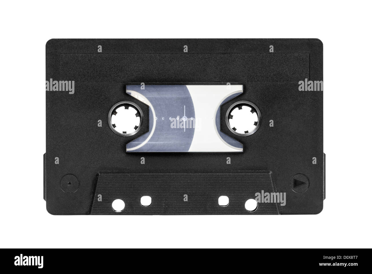 Vintage blank black audio cassette isolated with clipping path. - Stock Image