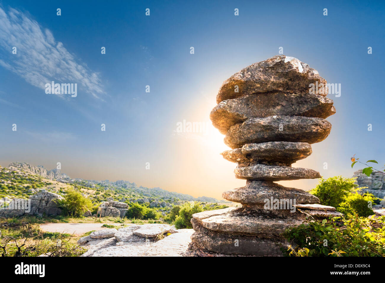 Famous limestone rock formation El Tornillo, the Screw, Corkscrew, in Torcal de Antequera a Karst mountain nature - Stock Image