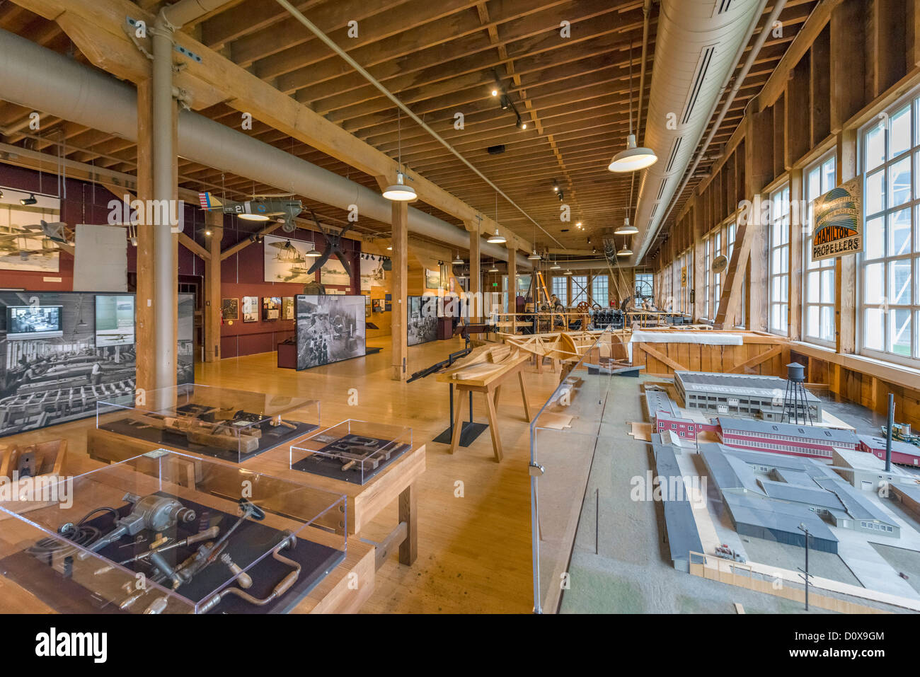 The Red Barn, the original Boeing manufacturing plant, The Museum of Flight, Seattle, Washington, USA - Stock Image