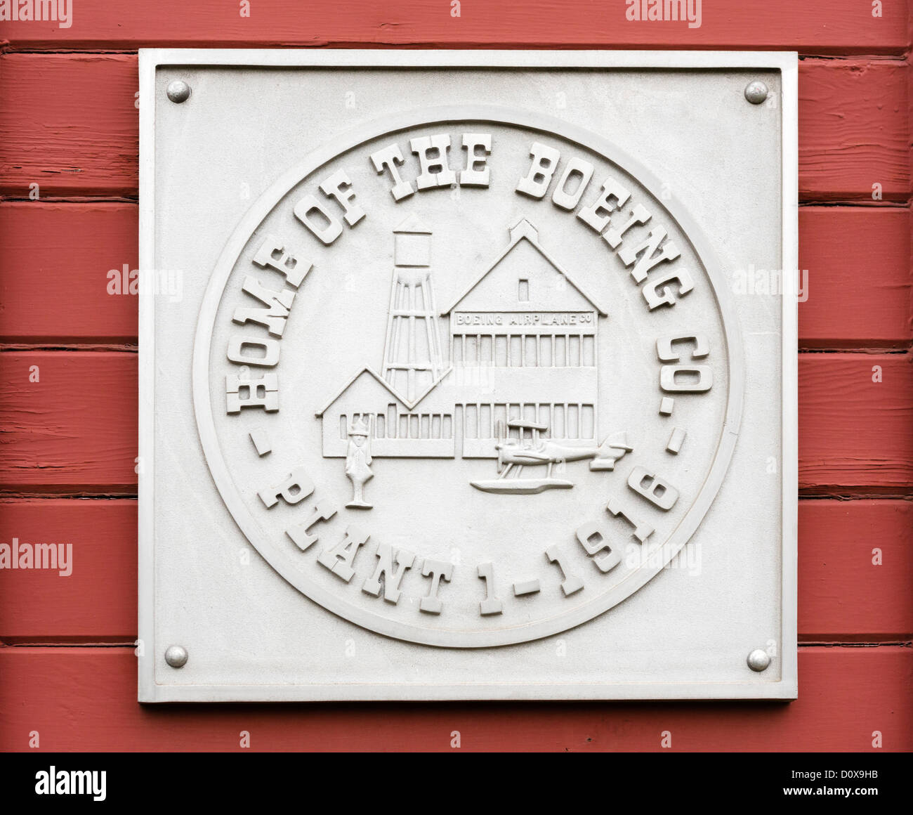 Plaque on the outside of the Red Barn, the original Boeing manufacturing plant, The Museum of Flight, Seattle, Washington, - Stock Image