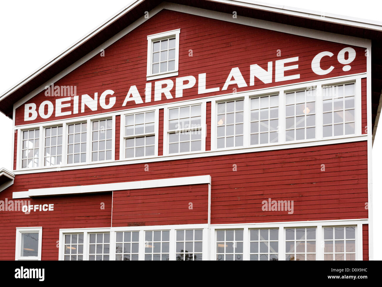 Exterior of the Red Barn, the original Boeing manufacturing plant, The Museum of Flight, Seattle, Washington, USA - Stock Image
