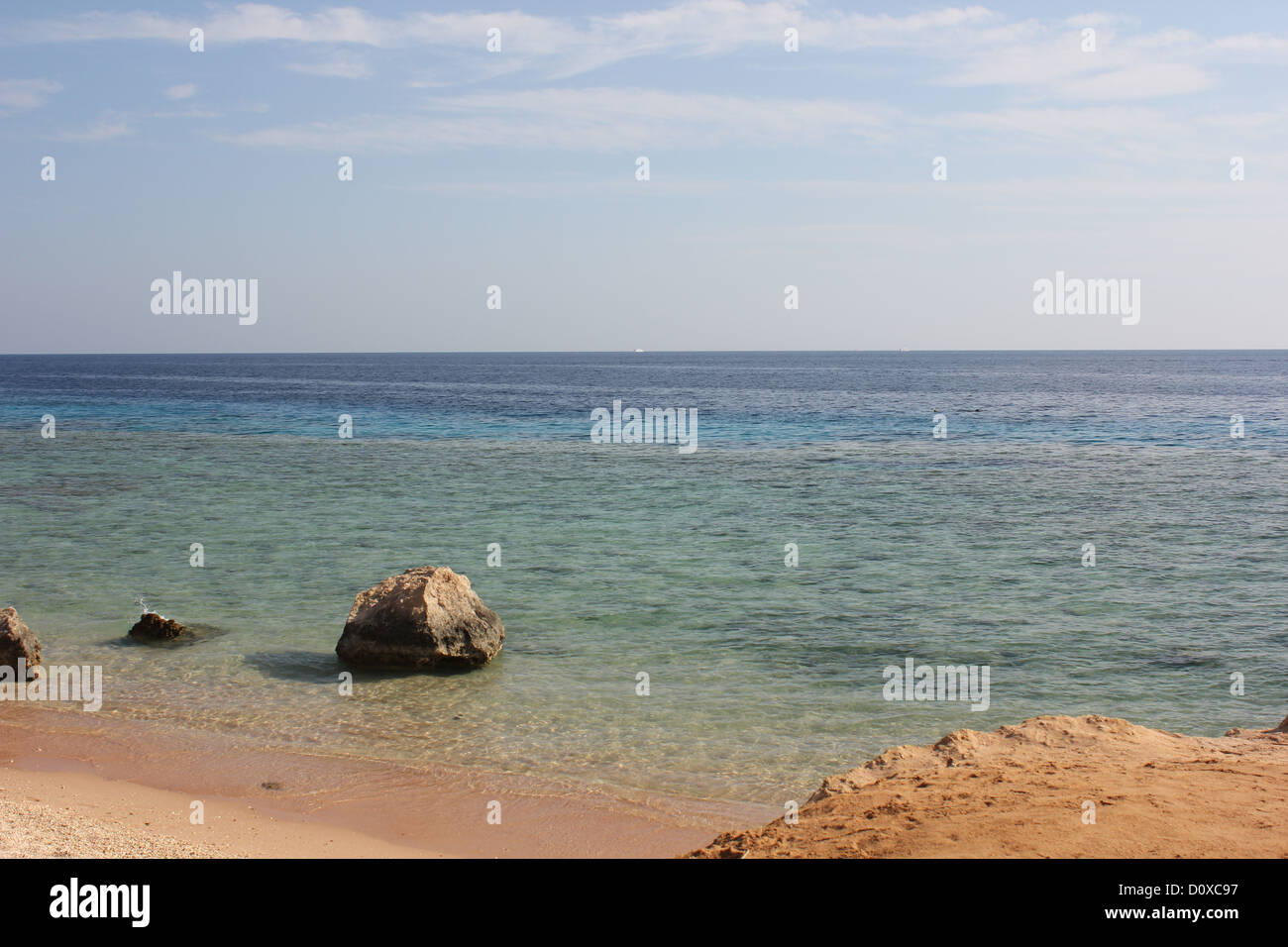 Beach View onto the Red Sea - Stock Image