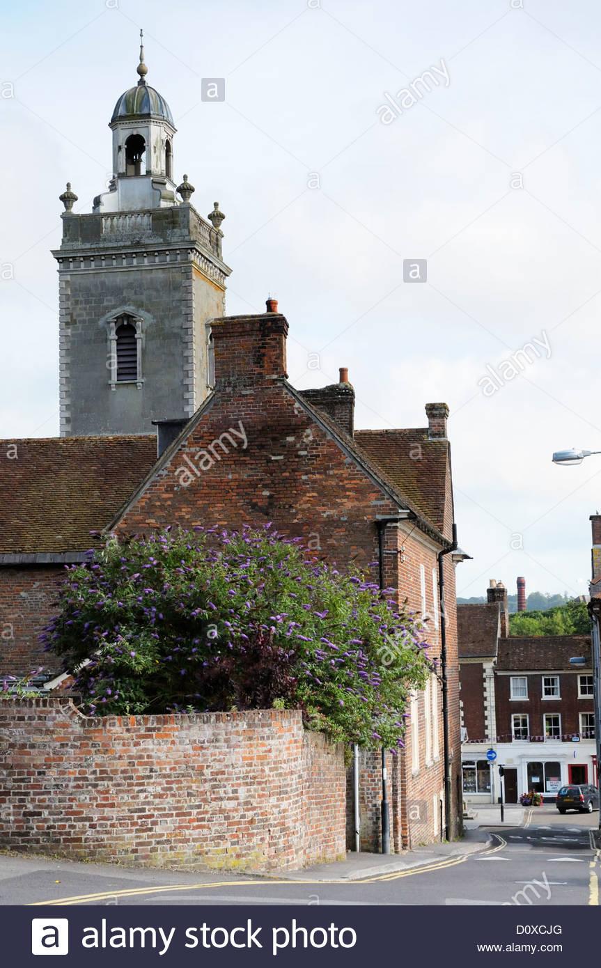View of Church Lane looking towards the Highstreet, Blandford Forum, Dorset England - Stock Image