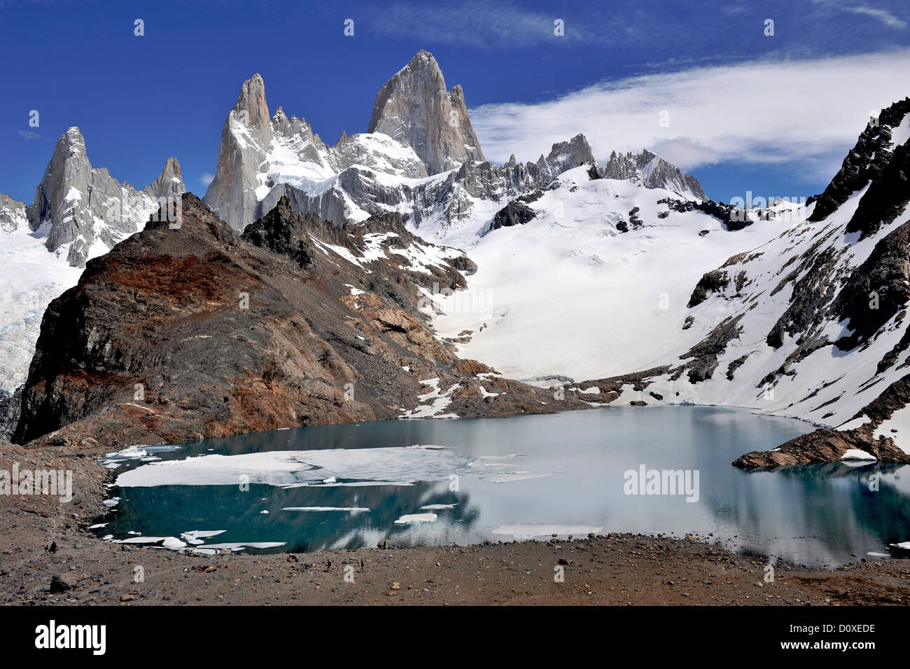 Monte Fitz Roy from the lookout in Los Glaciares National Park, El Chalten, Argentina - Stock Image
