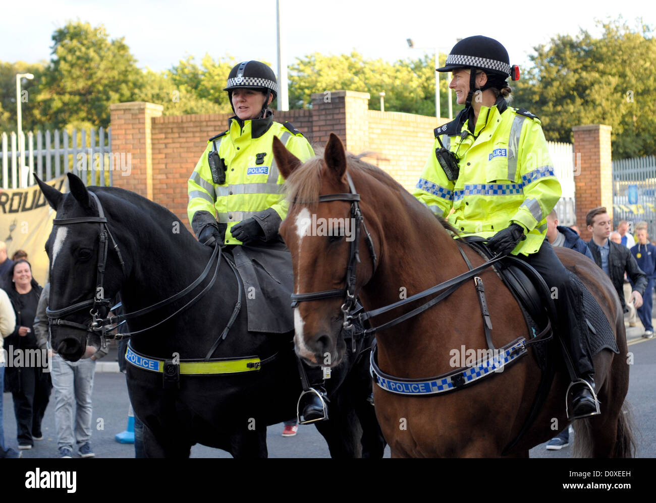 Two female mounted police officers outside Goodison Park before Everton's Home Match v Newcastle in the Premier Stock Photo