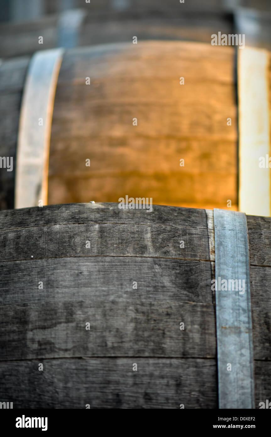 Barrel used for storing vintage wine - Stock Image