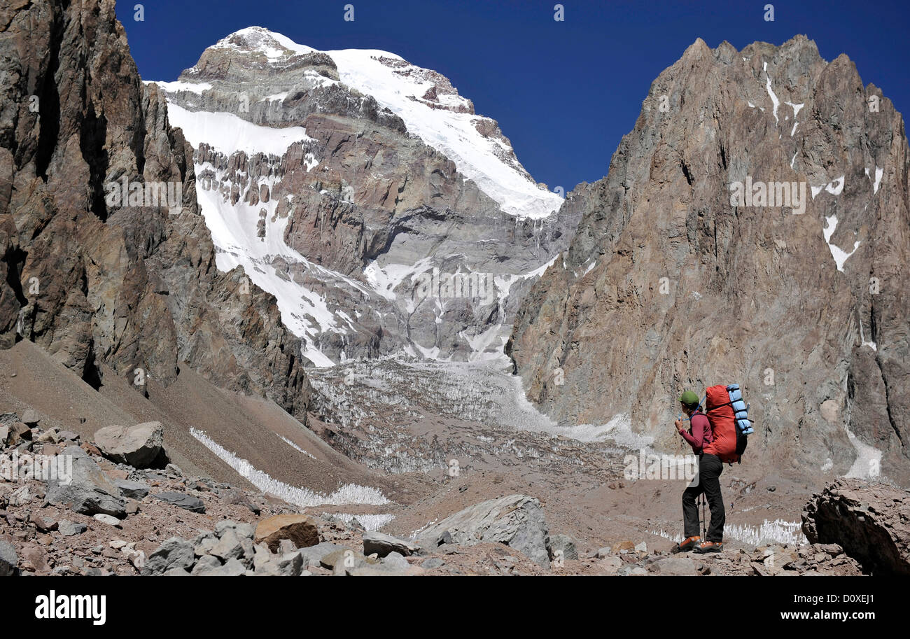 Woman looks at the East Face of Aconcagua in the Andes Mountains, Mendoza Province, Argentina - Stock Image