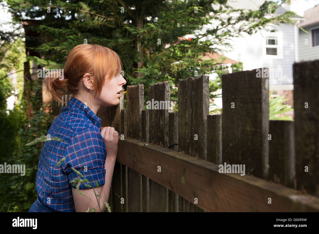 Young woman looking over fence to neighbor's yard - Stock Image