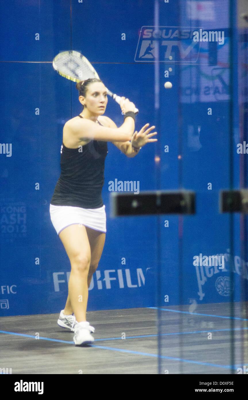 Women Finals of Cathay Pacific Sun Hung Kai Financial Hong Kong Squash Open 2012. Nicol David vs Camille Serme. - Stock Image