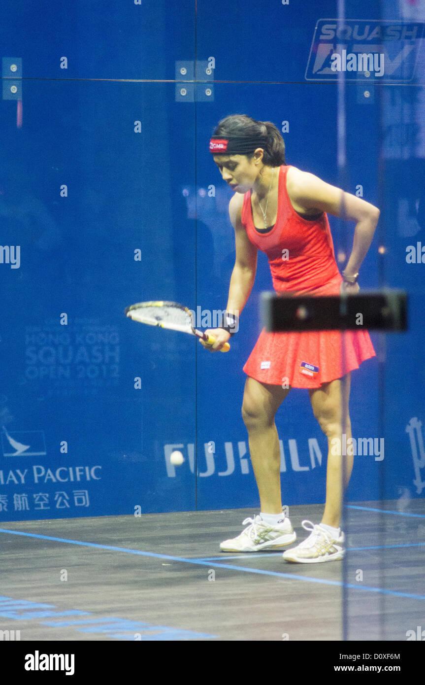 Women Finals of Cathay Pacific Sun Hung Kai Financial Hong Kong Squash Open 2012. Nicol David vs Camille Serme. Stock Photo