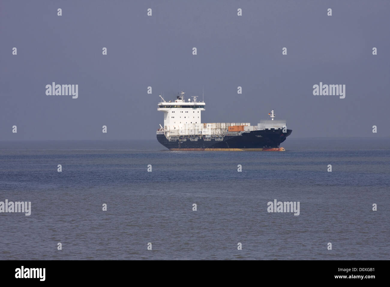 Container, container ship, Germany, Elbe, Europe, freighter, freight hauler, big, Hamburg, Germany, horizontal format, - Stock Image