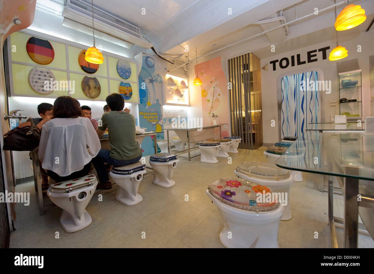 Asia, capital, Taipeh, loo, restaurant, Toilet, Taipei, Taiwan, toilets, WC, droll, - Stock Image