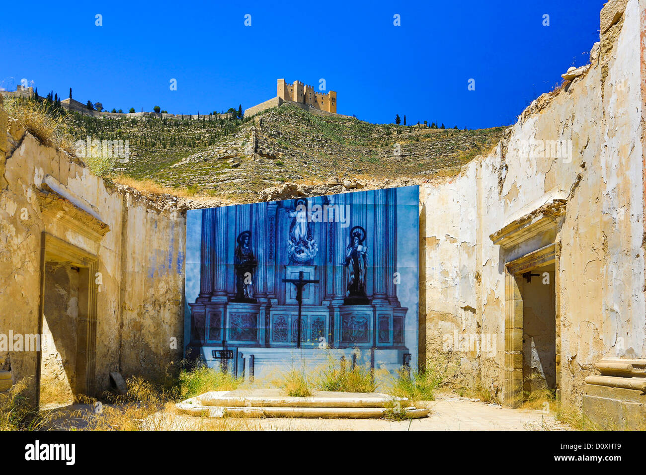 Spain, Europe, Zaragoza, Province, Mequinenza City, Church, Mequinenza, architecture, castle, church, destroyed, - Stock Image
