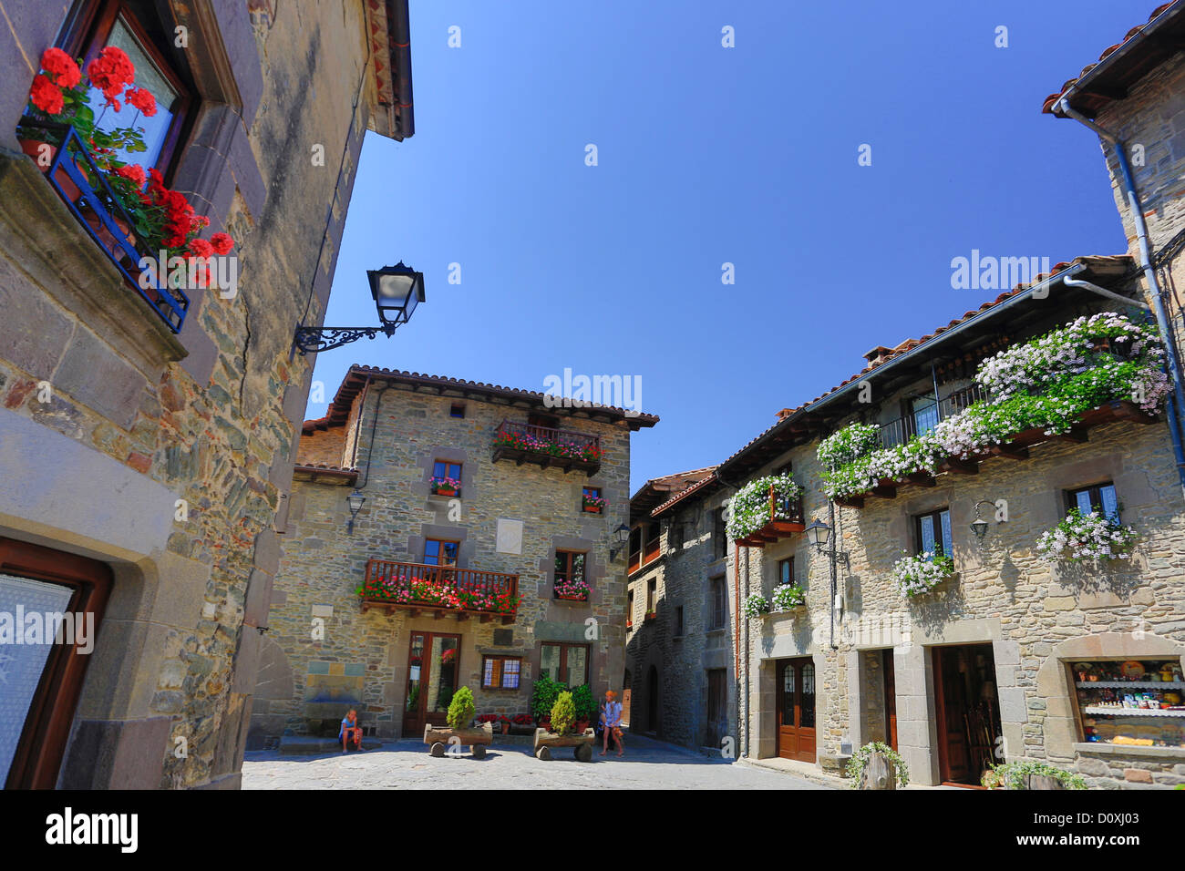 Spain, Europe, Catalonia, Barcelona Province, Rupit, town, architecture, flowers, medieval, natural, picturesque, - Stock Image