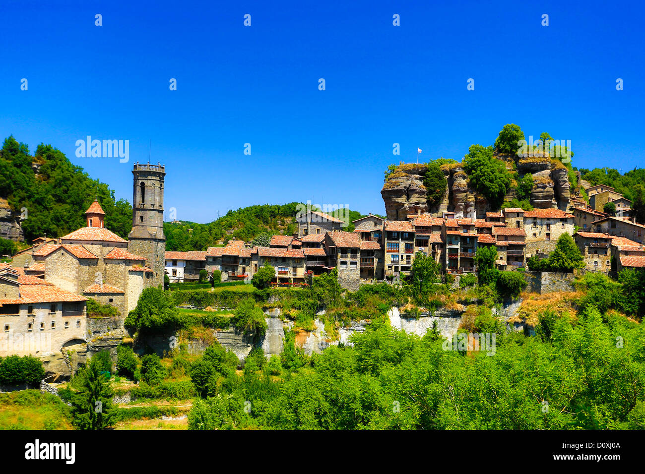 Spain, Europe, Catalonia, Barcelona Province, Rupit, town, architecture, belfry, church, medieval, natural, picturesque, - Stock Image
