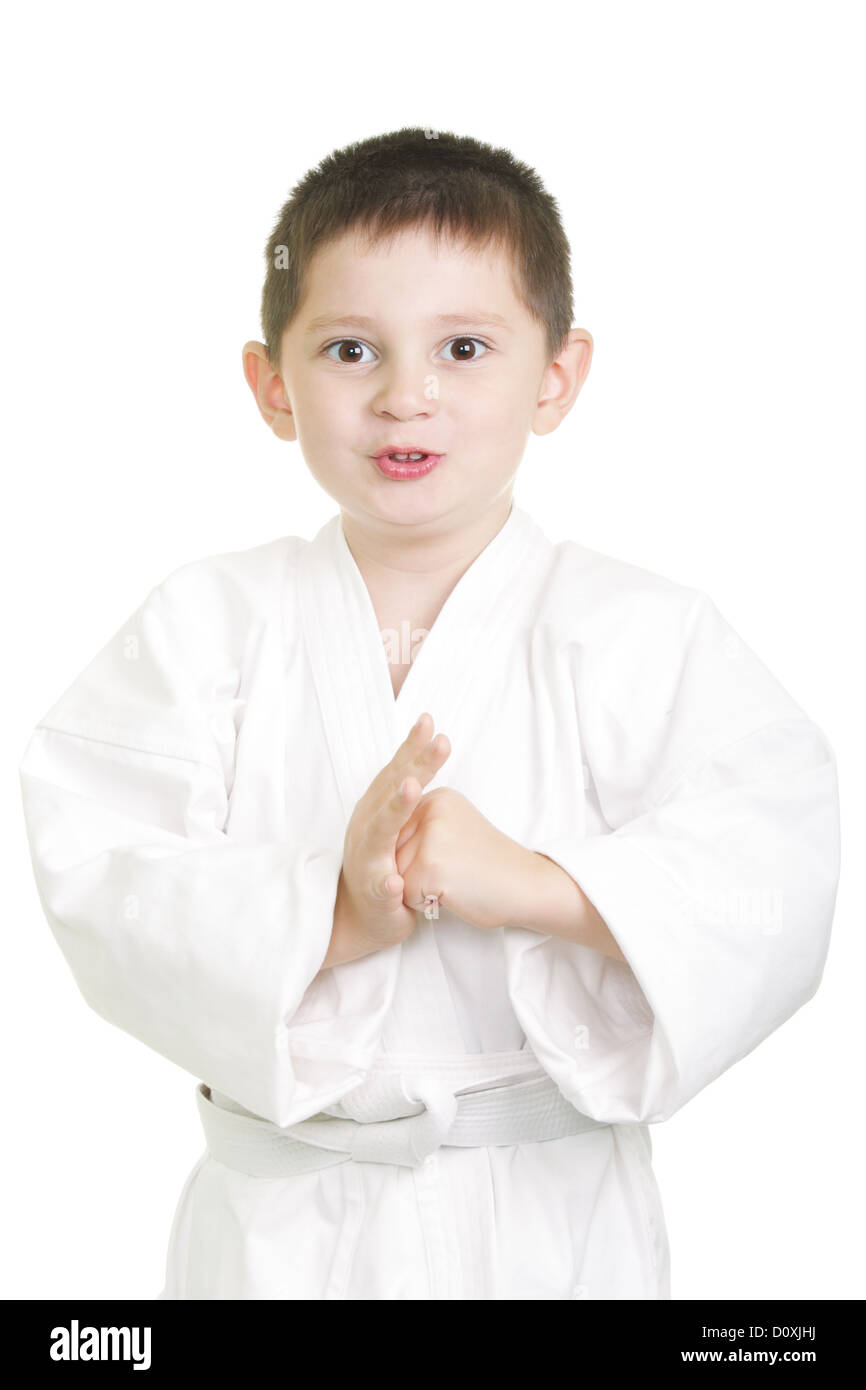 Karate kid in greeting stance stock photo 52216462 alamy karate kid in greeting stance m4hsunfo