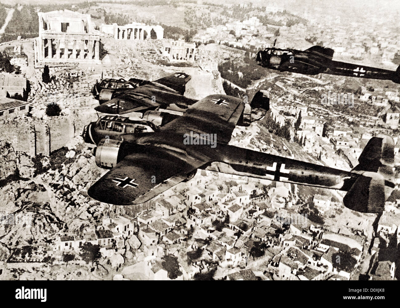 Luftwaffe, Two, German, Dornier, Do 17, aircraft, flying, Athens, Acropolis, bomber, Luftwaffe bomber types until - Stock Image