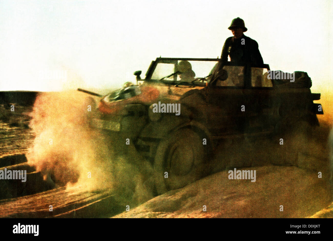 German, Africa, corps, jeep, Desert, vehicles, sand, soldiers, African Campaign, Afrikacorps, 1942, Rommel, World - Stock Image