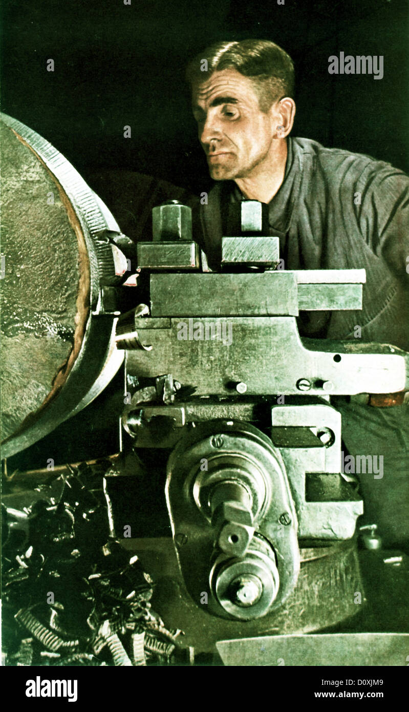 German, Metal, Worker, war, 1941, weapon, production, industry, Germany - Stock Image