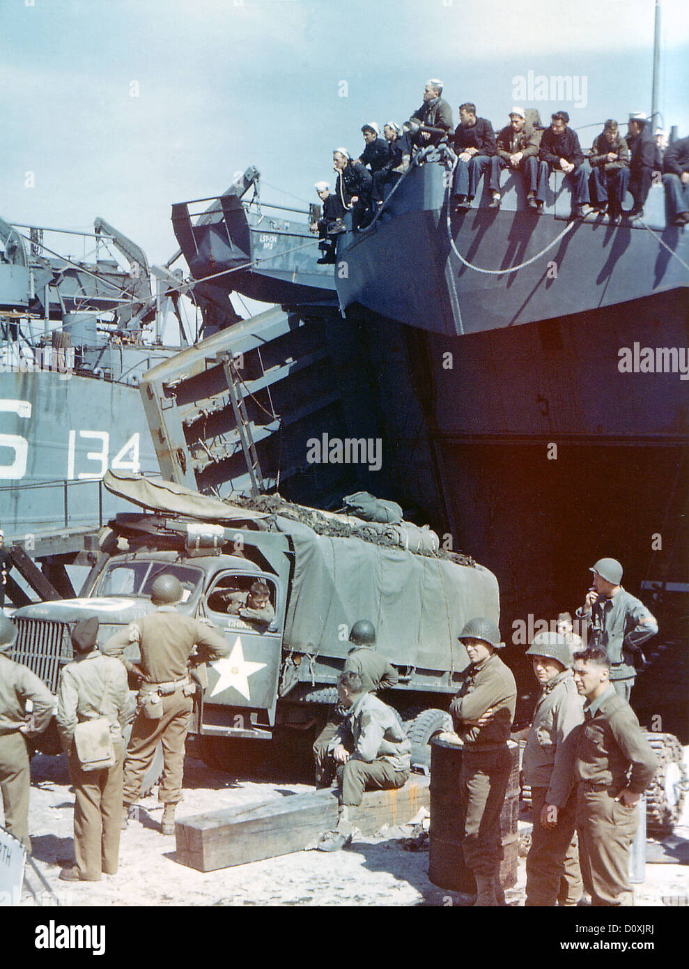 Operation, Overlord, Navy, Landing Crafts, ship, Southern England, British, soldiers, troops, invasion, France, Stock Photo