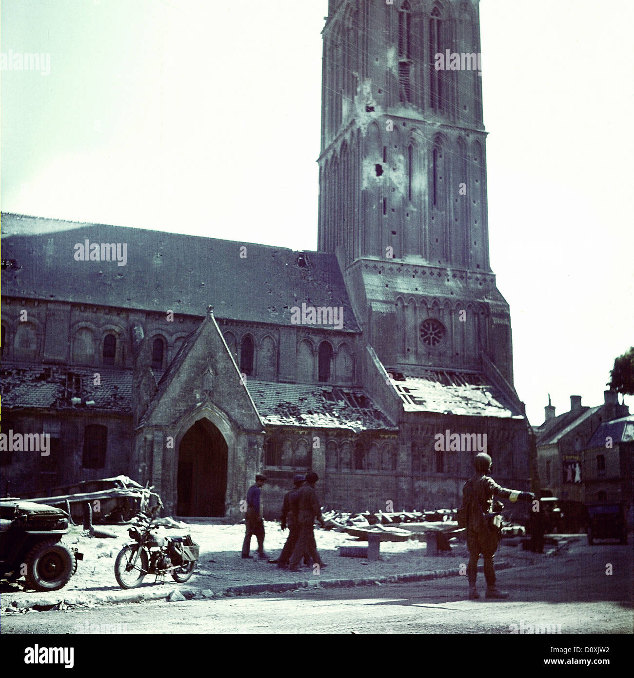 Operation, Overlord, Normandy, Canadian, soldier, directing, military, traffic, front, Church, Notre-Dame, Bernières Stock Photo