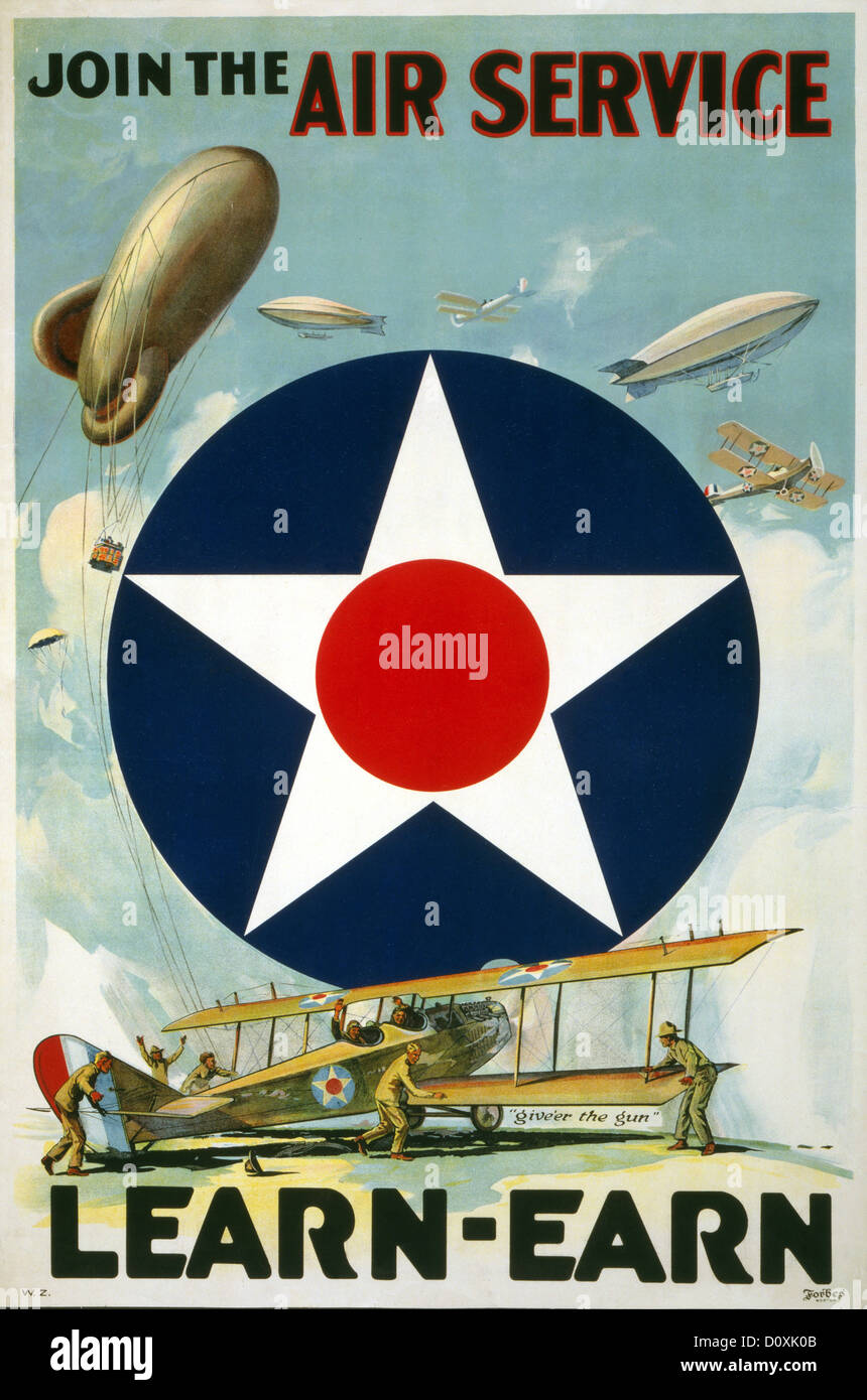 World War I American Recruitment Poster Soldiers Airplanes And