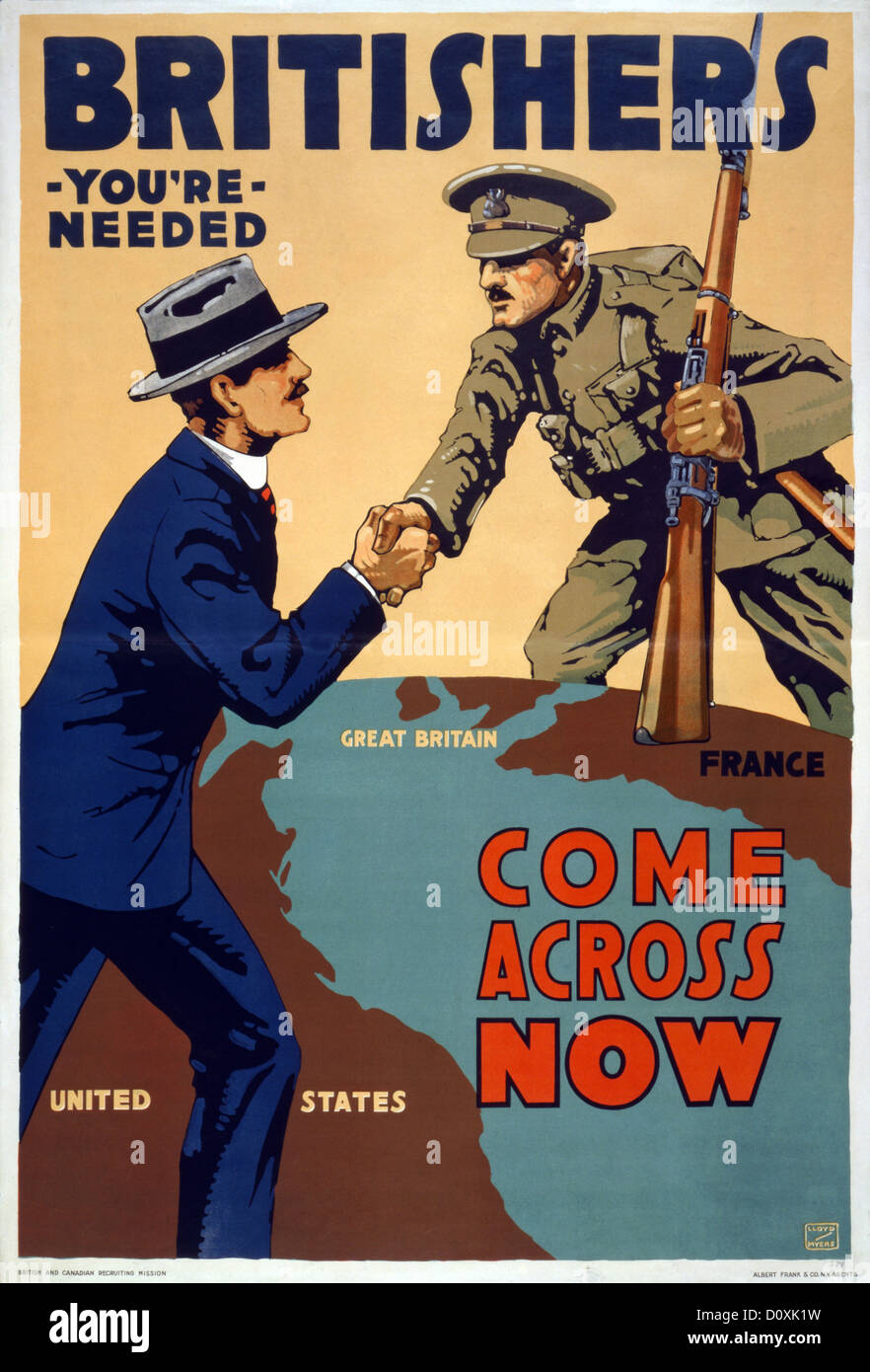World War I, American, recruitment, poster, men, globe, shaking hands, Atlantic;, Great Britain, France, Recruiting, - Stock Image