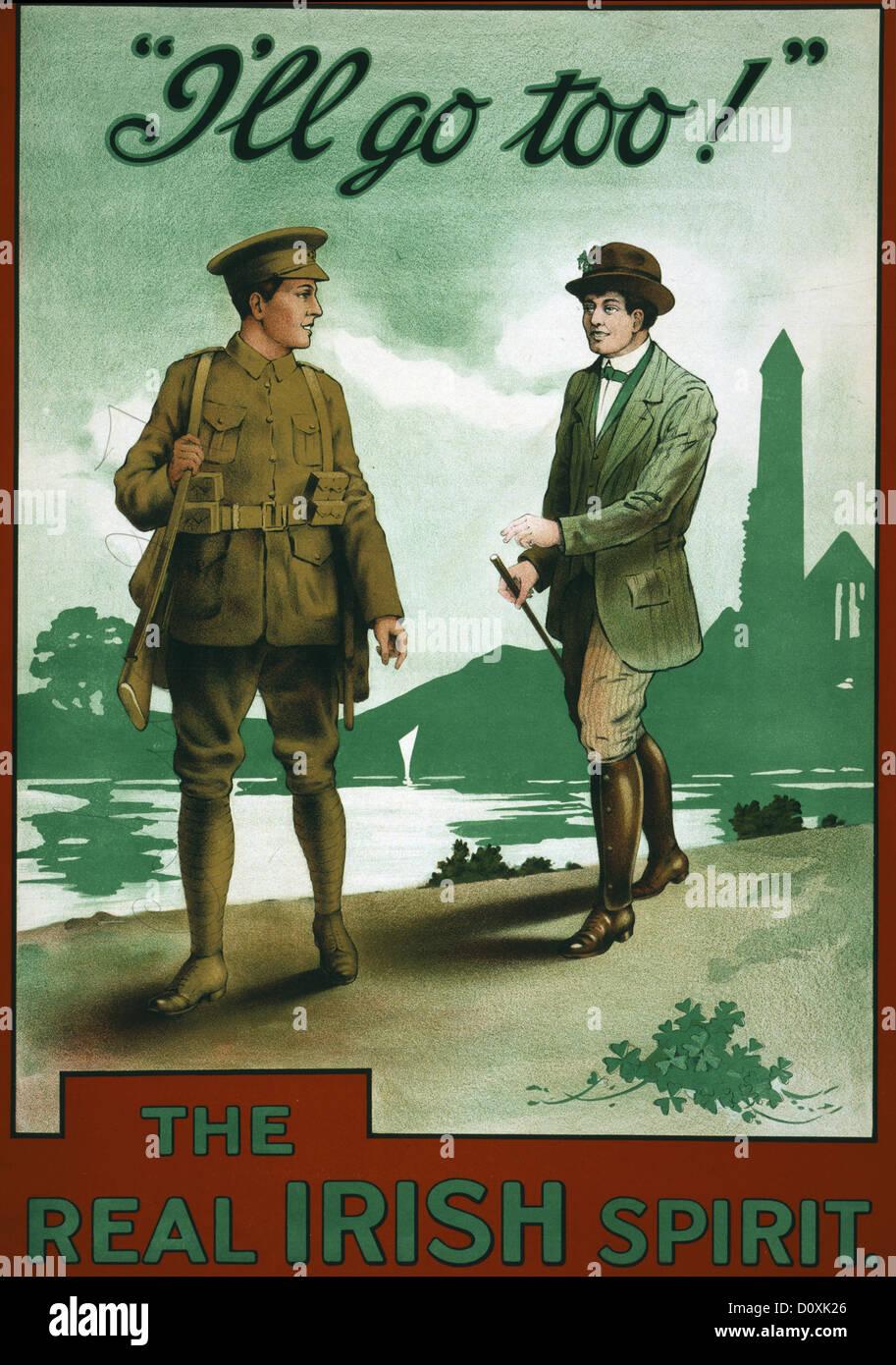 Ireland, World War I, recruitment, poster, green, shamrocks, soldier, Irish spirit, 1915 - Stock Image