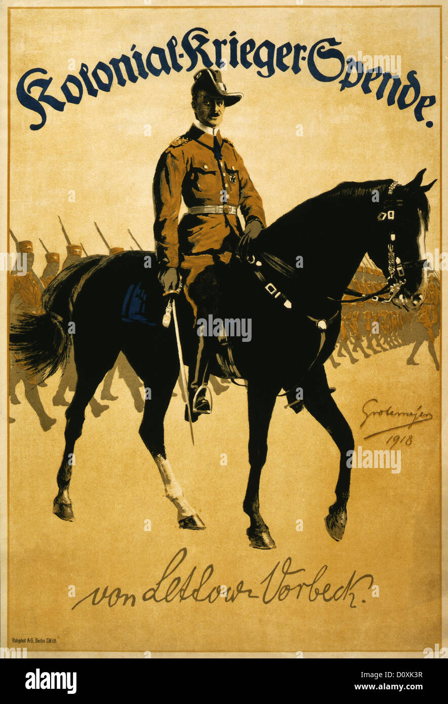 Germany, German, propaganda, poster, General, Paul Emil von Lettow-Vorbeck, horseback, African, soldiers, Colonial - Stock Image