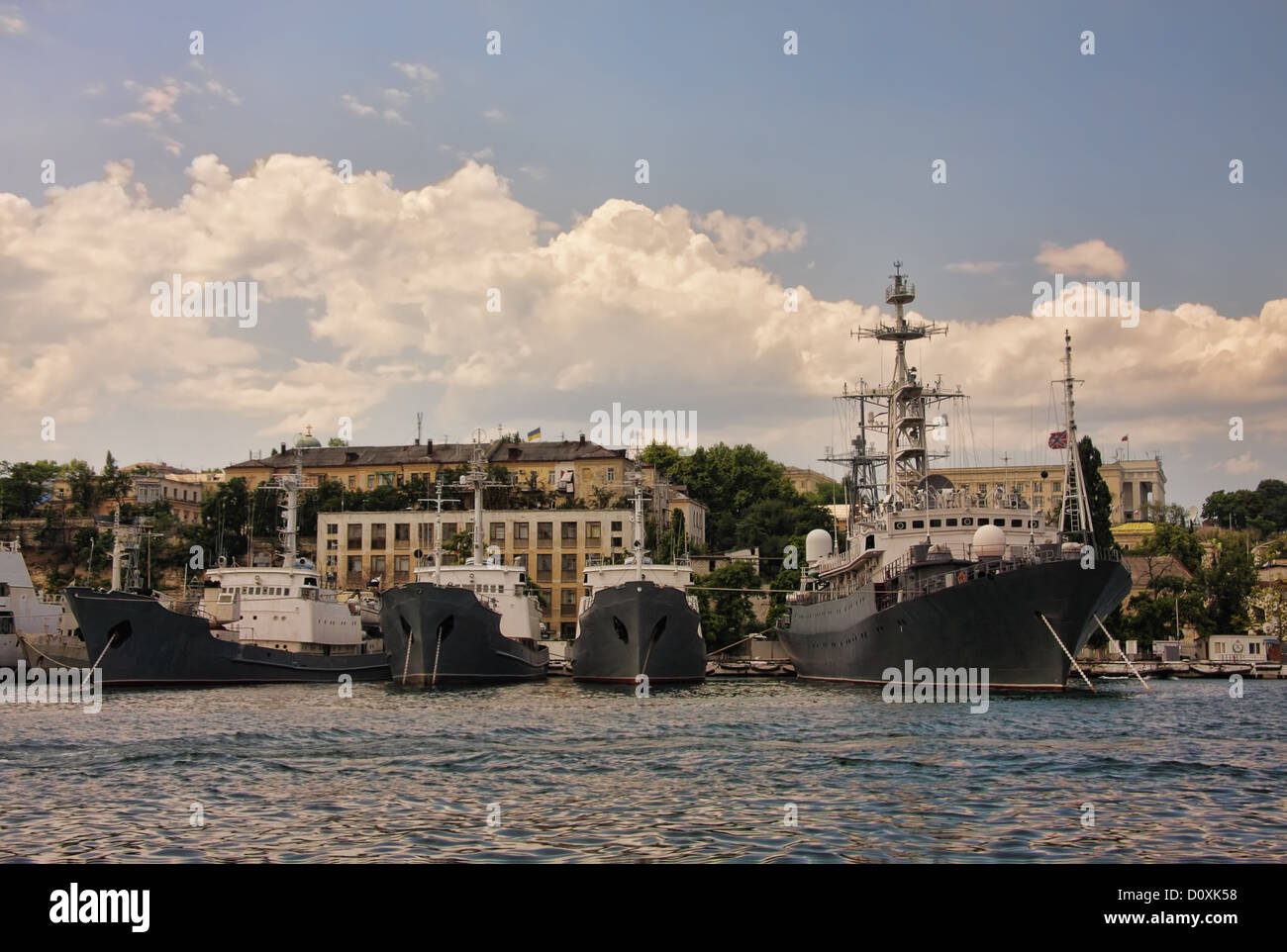 Battleships at mooring - Stock Image