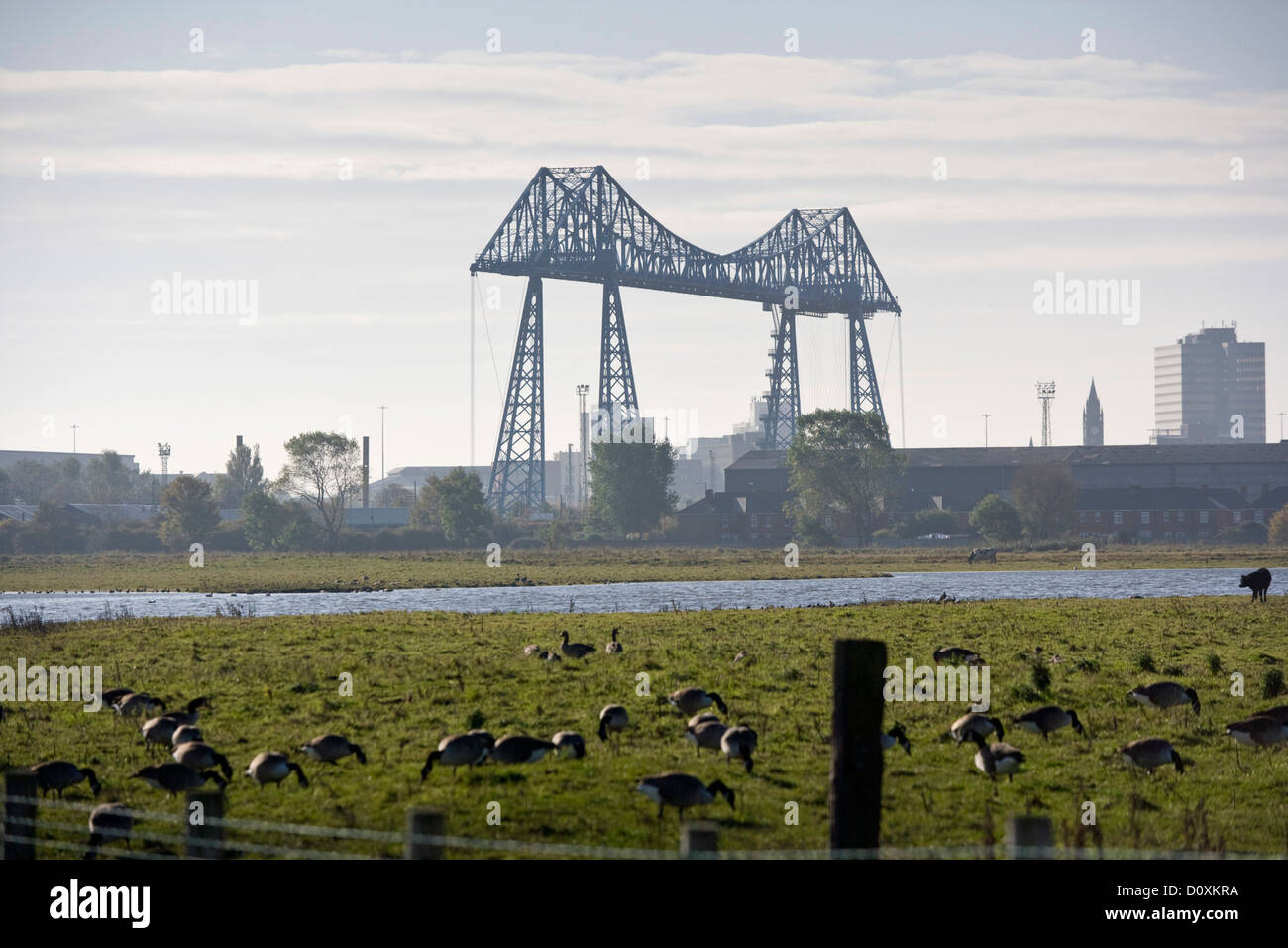 View of the Tees Transporter Bridge, Middlesbrough England - Stock Image