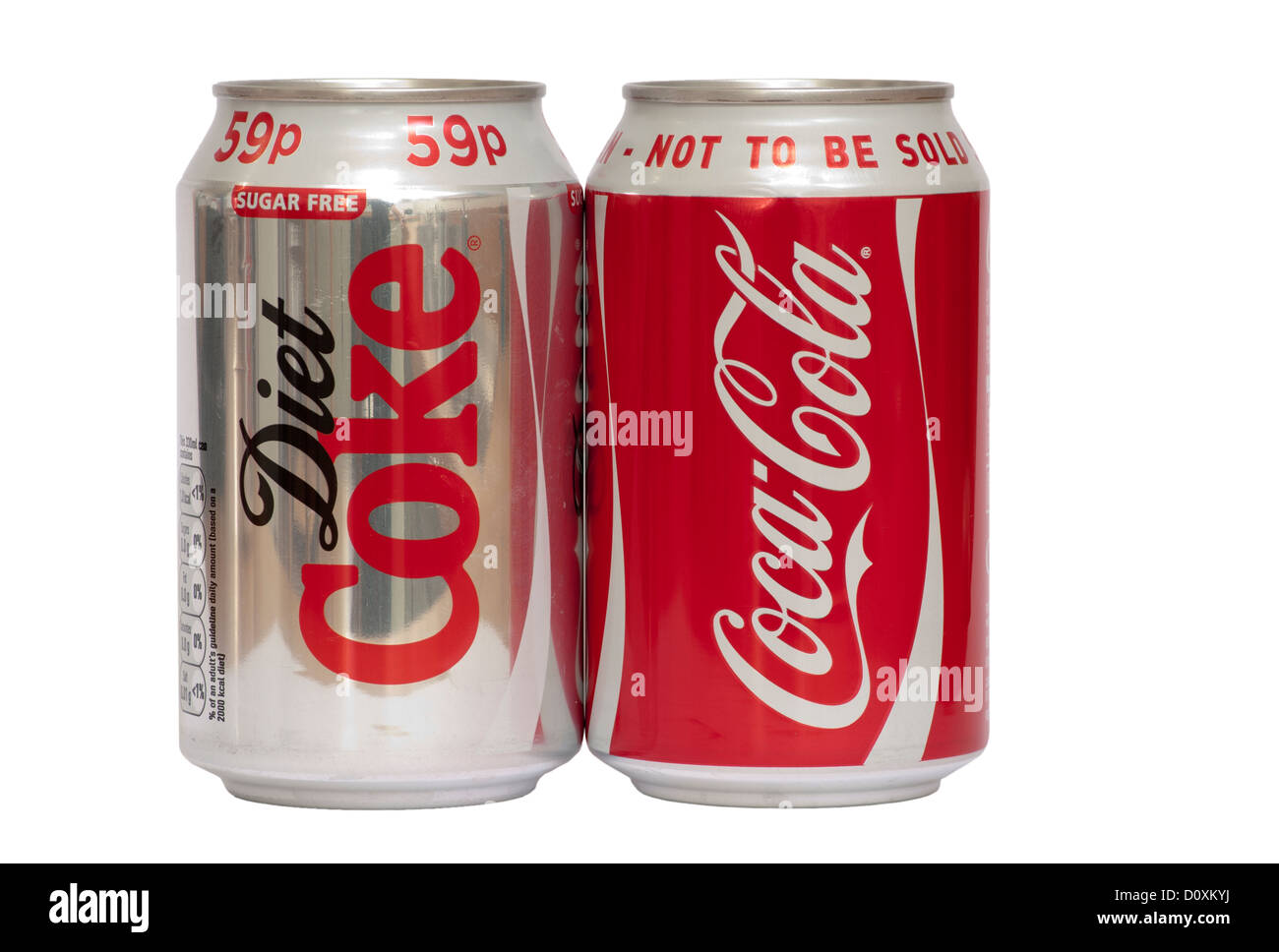Cans Of Diet Coke and Coca Cola - Stock Image