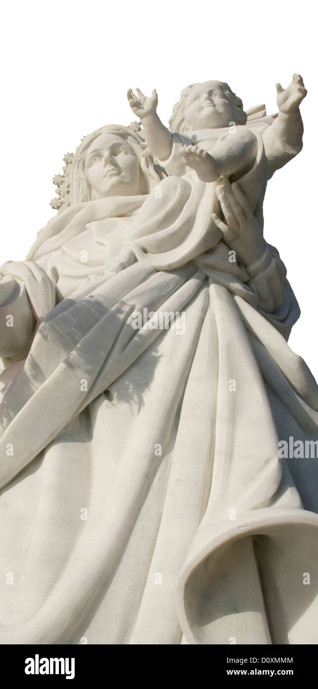 Marble Statue of The Madonna holding a Baby - Stock Image