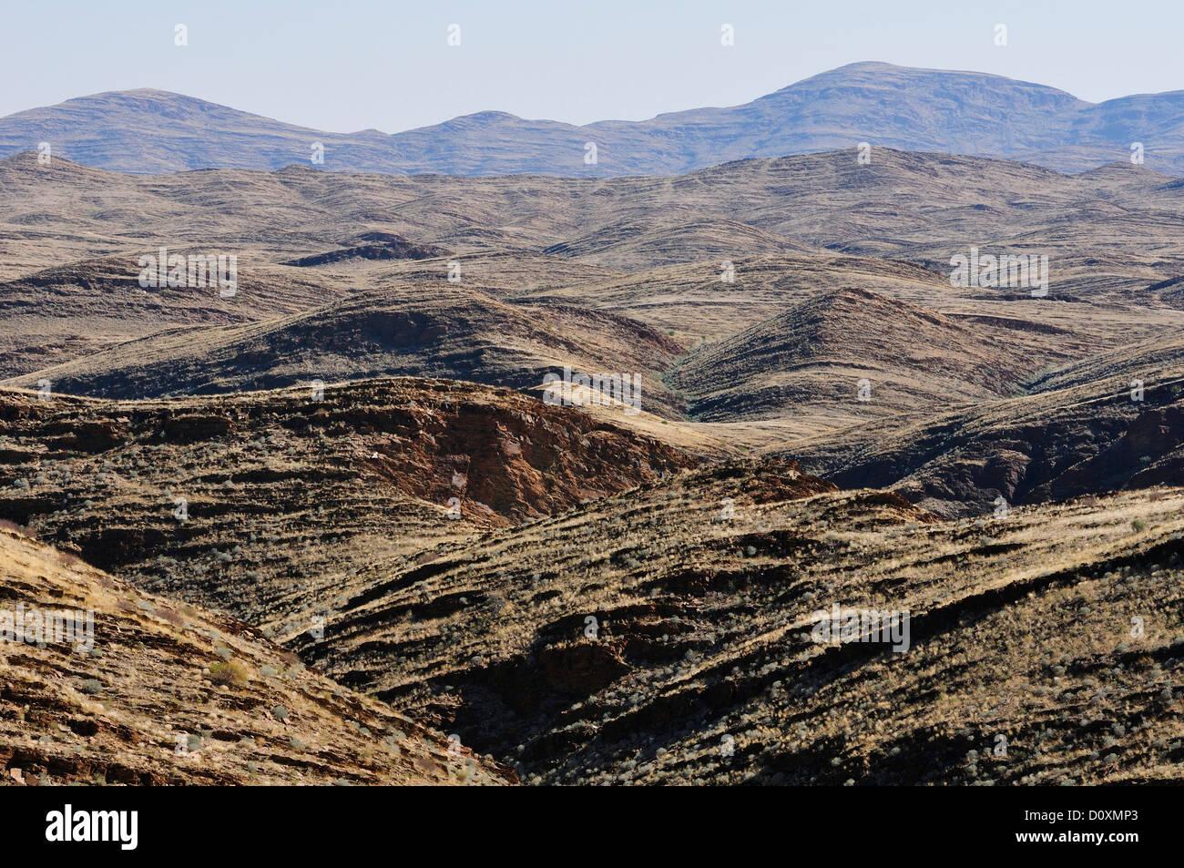 Africa, Namib, Naukluft, Park, Namibia, desert, fold, geology, horizontal, landscape, monochromatic, rolling hills, - Stock Image