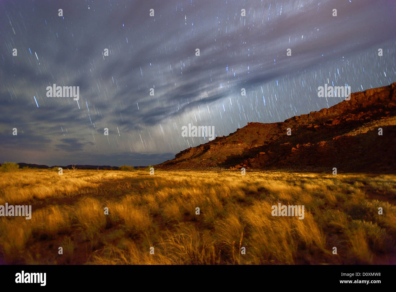 Africa, Namibia, Damaraland, grassland, night, star trails, sky, stars, starlit, spangled sky, - Stock Image