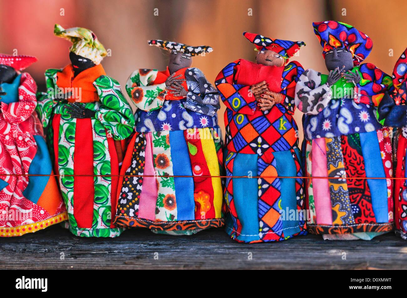 Africa, Damaraland, Herero, Women, Namibia, colorful, craft, doll, horizontal, puppet, vibrant - Stock Image