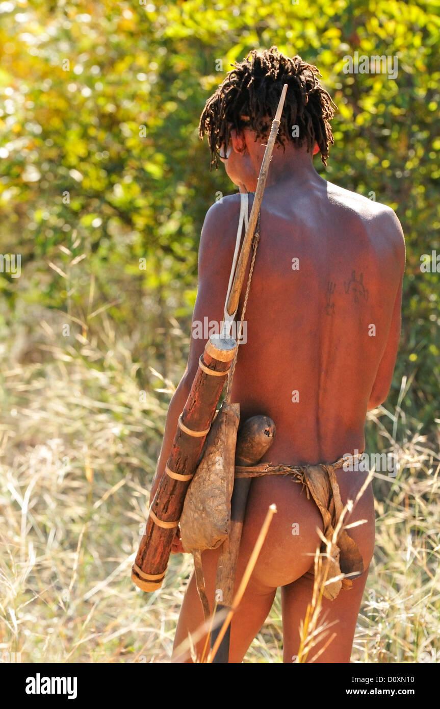 Africa, Bushmen, Namibia, bow, arrow, clan, hunter, hunter, gatherer, hunting, man, natural, nomad, primitive, tribe, - Stock Image
