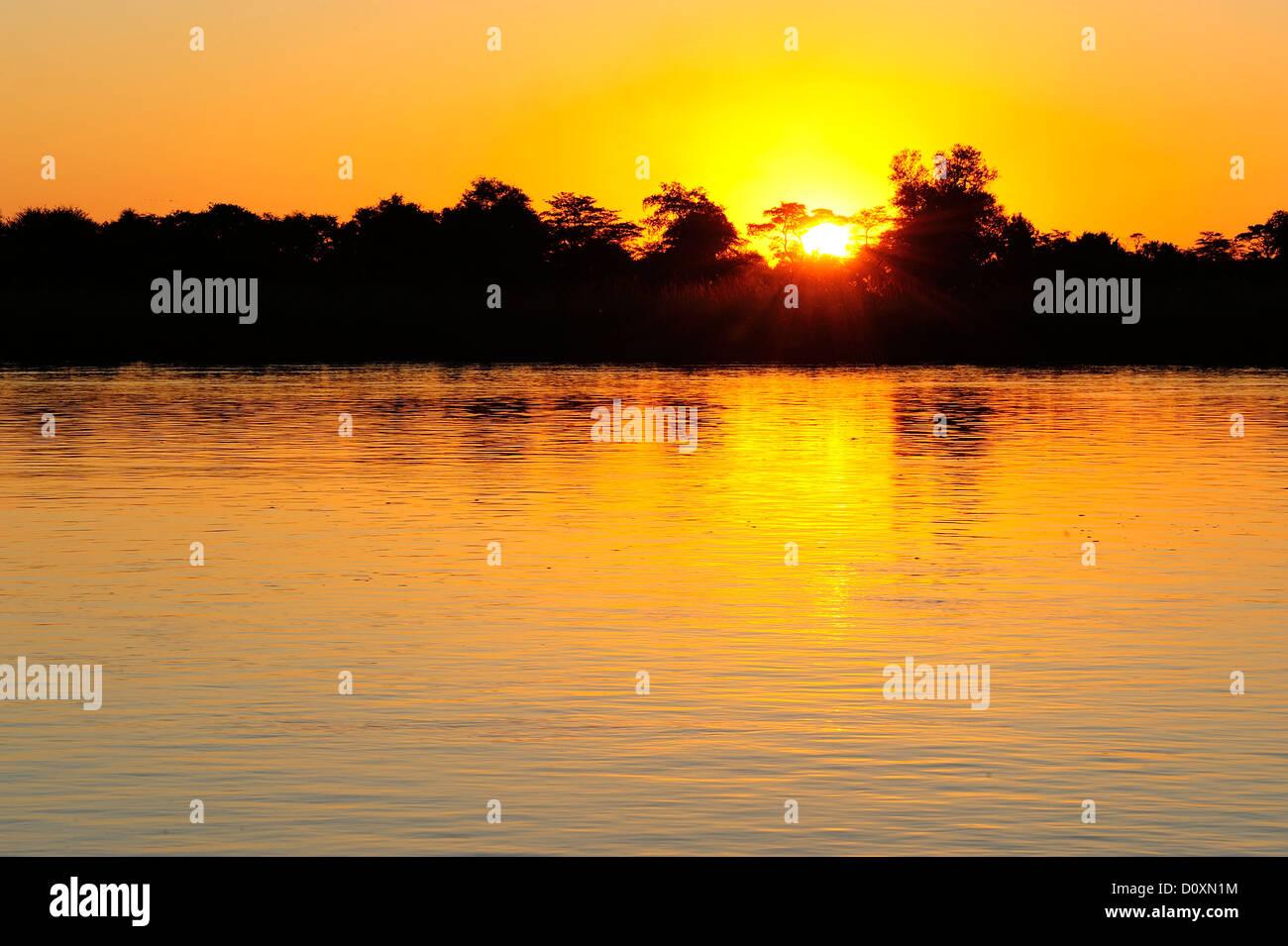 Africa, Namibia, Okavango, River, sunrise, landscape, water - Stock Image