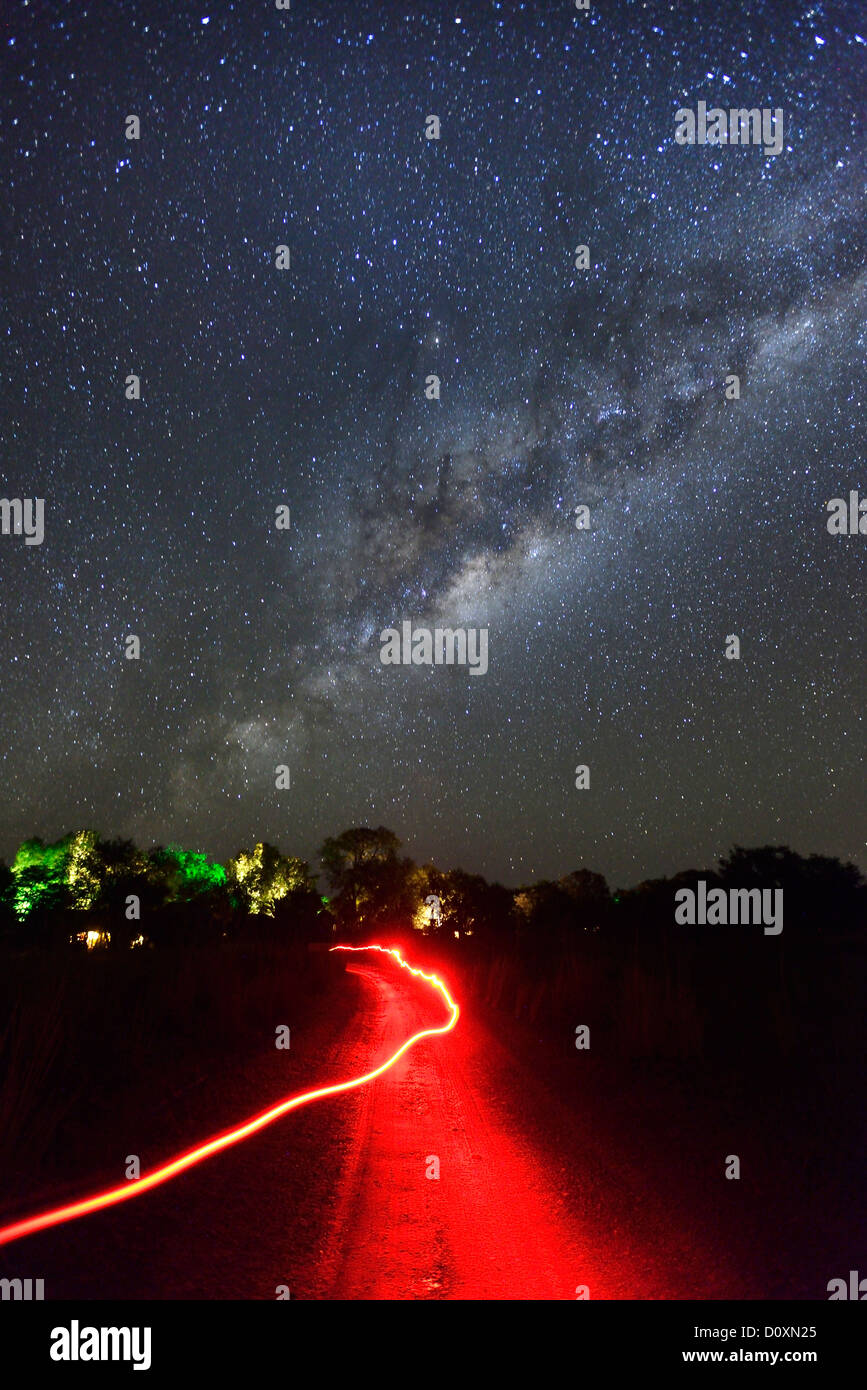 Africa, Southern, Namibia, Caprivi, night, sky, stars, astro, photography, spangled sky, starlit, Okavango, - Stock Image