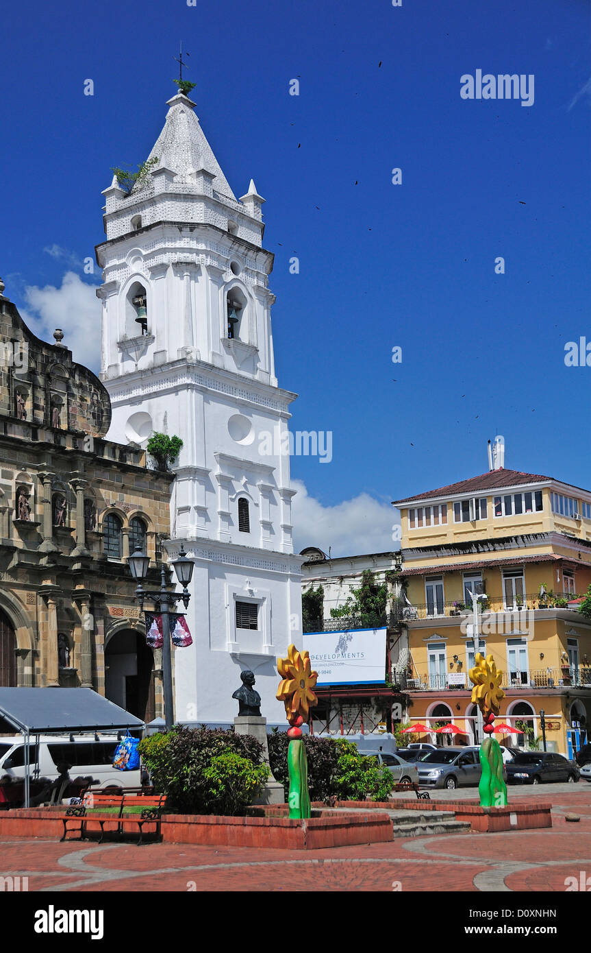 Cathedral, Plaza Mayor, Casco Antiguo, Old Town, Panama City, Panama, Central America, church - Stock Image